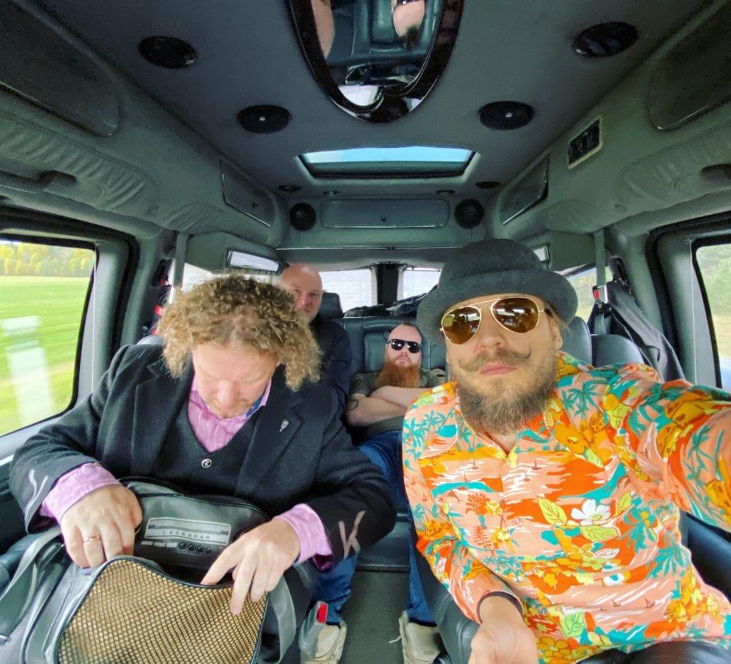 Band Köömes in a tour van